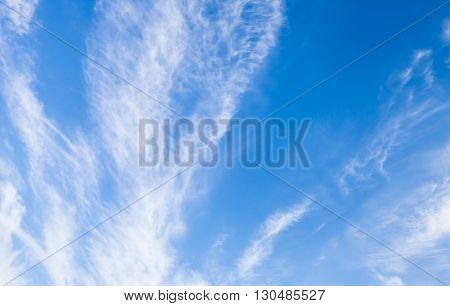 Cirrus Clouds In Bright Blue Sky, Natural Background
