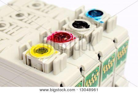 lose up of printer cartridges