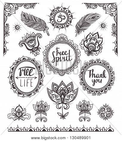 Set of Ornamental Boho Style Frames and elements. Vector illustration. poster