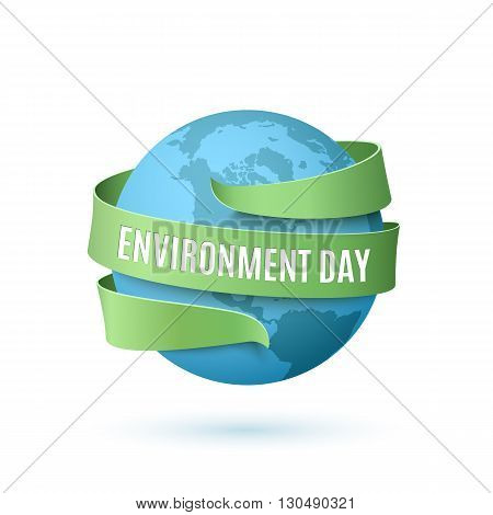 World Environment Day, background with blue globe and green ribbon around, isolated on white background. Vector illustration.