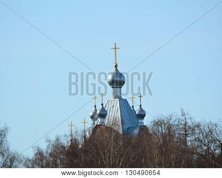 Domes of the Orthodox Church in the city Tartu Estonia
