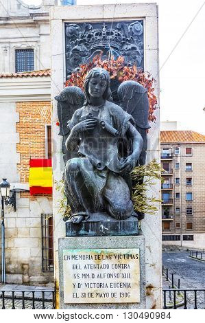 MADRID SPAIN - MARCH 23 2016: Memorial in memory of the victims of the terrorist attack against Alfonso XIII and Victoria Eugenia on may 31 1906 in Madrid. Spain.