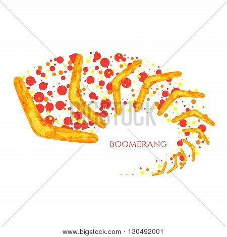 Flying boomerang logo. Yellow boomerang icon with Australian aboriginal ornament. Boomerang in movement. Imitation of watercolor. Boomerang as a symbol of Australia. Isolated vector illustration.