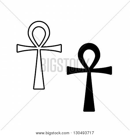 Ankh Symbol. Vector Egyptian Cross isolated on white. Black and white