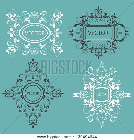Set of isolated flower, emblems. Ornament elements on green background for restaurants, jewelry, tattoos, printing. Baroque style. Isolated vector illustration