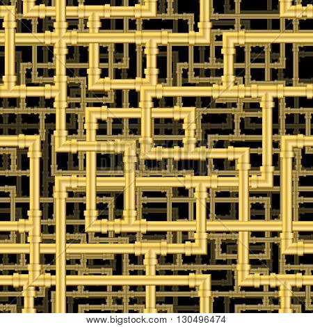 Repeating pipework steam punk maze. Tileable vector wallpaper that repeats left right up and down