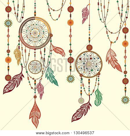 Dream Catcher. Ethnic Indian colored decorative components. Isolated  feathers, beads. The concept for the design. Vector illustration