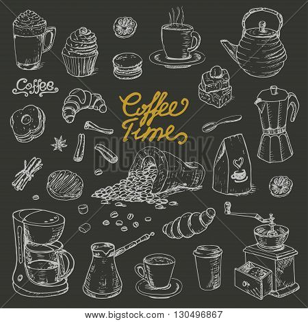 Collection of coffee doodle elements for cafe menu, fliers, chalkboard on dark background. Vector  illustration for your design
