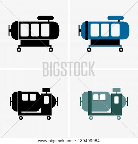 Set of four hyperbaric chambers on grey background