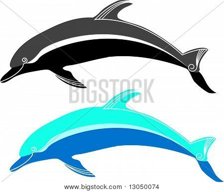 Dolphin and blue sea