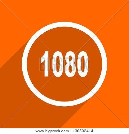 1080 icon. Orange flat button. Web and mobile app design illustration
