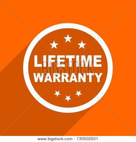 lifetime warranty icon. Orange flat button. Web and mobile app design illustration