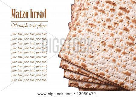 Pile Of Jewish Matzo Flatbread Isolated On White, Horizontal