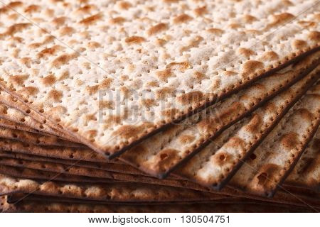 Pile Of Jewish Matza Flatbread Texture Close-up, Horizontal