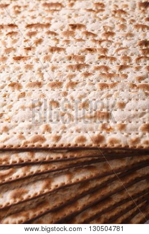 Jewish Matzo Flatbread Texture Close-up, Vertical