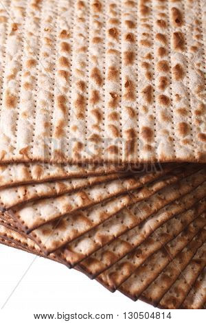 Pile Of Jewish Kosher Matzah Macro Isolated On White Vertical