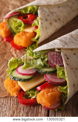 Sandwich Roll With Fish And Vegetables Macro. Vertical