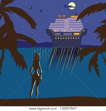 Summer beach landscape at night. Silhouette of a girl on the beach, lights of a cruise ship in the distance, in the moonlight. Relax on the beach during summer vacation. Vector flat illustration.
