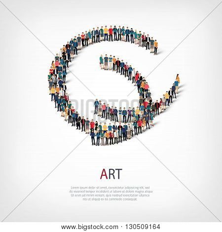 Isometric set of styles, art , web infographics concept  illustration of a crowded square, flat 3d. Crowd point group forming a predetermined shape. Creative people. - Vector Illustration. Stock vector.3D illustration.