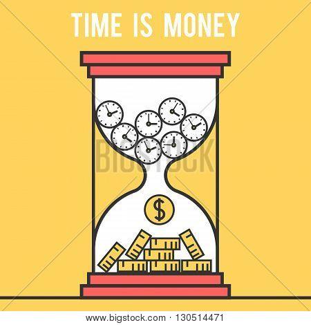 Icon design concept time is money, hourglass. Modern flat line vector logo pictogram illustration