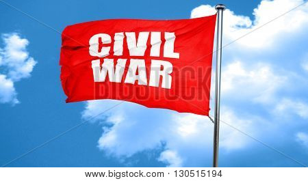 civil war, 3D rendering, a red waving flag