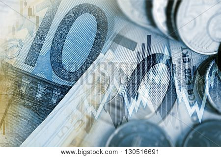 Euro Money Trader Concept. European Currency Financial Conceptual Graphic.