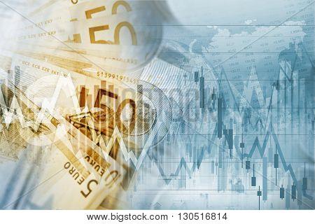 European Union Euro Money Conceptual Graphic. Forex Euro Trading