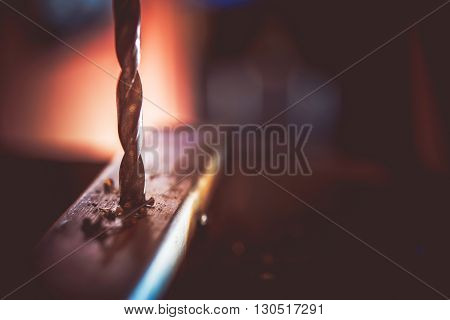 Metal Drill Closeup Photo. Drilling Construction Works.