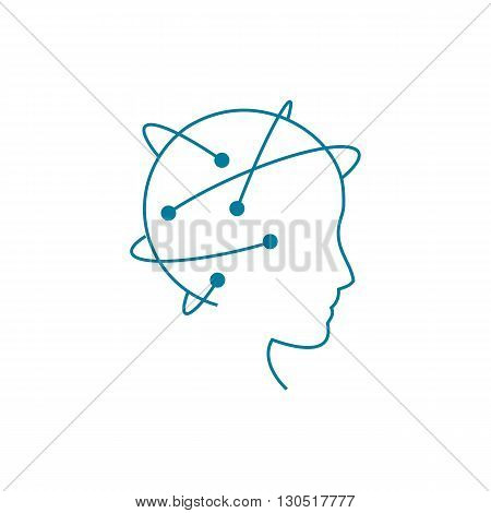 Data science and communication concept with scientist head against flow of information vector illustration isolated on white background.