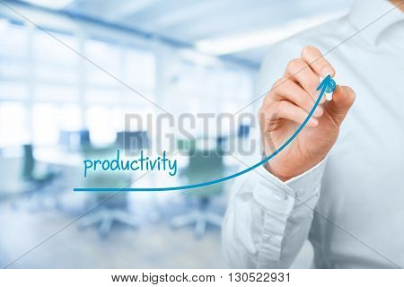 Increase personal or company productivity concept. Businessman represented by hand rise on increasing letters on word productivity. Office in background.