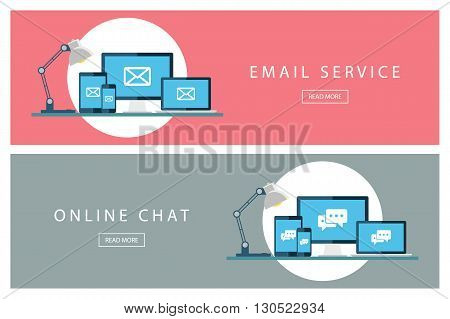 Set of flat design concepts Email service and Online chat. Banners for web design, marketing and promotion. Presentation templates. Vector illustration.