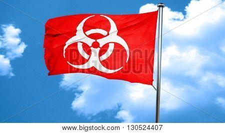 Bio hazard sign on a grunge background, 3D rendering, a red wavi