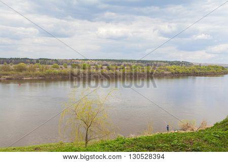 Beautiful landscape of Oka river in Tarusa