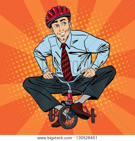 Businessman Riding a Small Bicycle. Pop Art Vector illustration