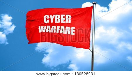 Cyber warfare background, 3D rendering, a red waving flag