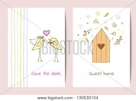 Set of two backgrounds with cute birds and a birdhouse in hand-drawing style. Vector design template for cards invitations brochures covers.
