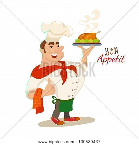 Bon appetit chef cartoon character. Vector illustration. Smile restaurant cook with dish plate. Typography and chef for catering mascot.