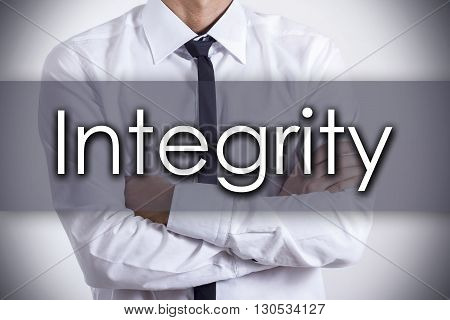 Integrity - Young Businessman With Text - Business Concept