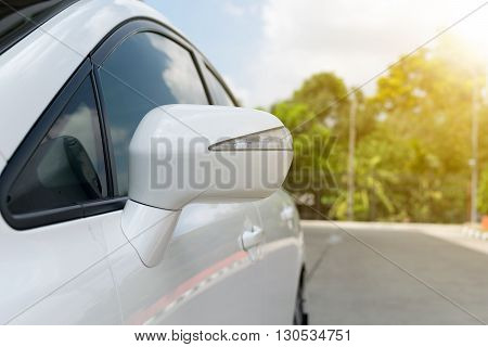 wing mirror of car. Sun shining.car, sun, mirror, drive, night,