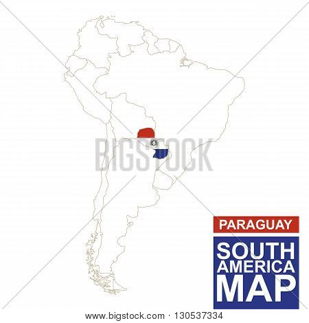 South America Contoured Map With Highlighted Paraguay.