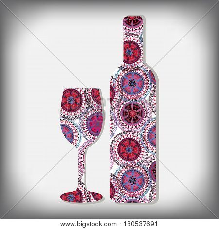 bottle of wine design -vector illustration. Bottle of wine and a glass on isolated background. Lace ornament on the bottle.