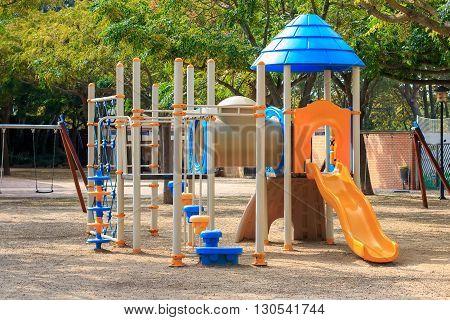 Сhildren's playground Multi - Unit with swings, agility equipment, slide and challenge net