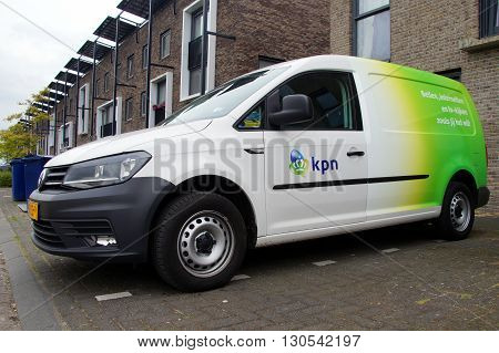 Almere Poort, Flevoland, The Netherlands - May 20, 2016: Royal KPN Service van parked in in a pubic parking lot. Nobody in the vehicle.