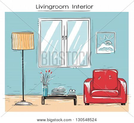 Sketchy Illustration Of Livingroom Interior.vector Color Hand Drawing Image