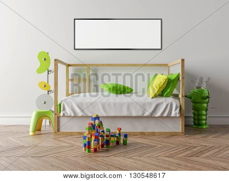 Empty children's room with a wooden cot and a white wall in the background. On the floor toys stylized hanger and a small toy robot. Parquet on the floor. Blank Picture frame. 3D illustration