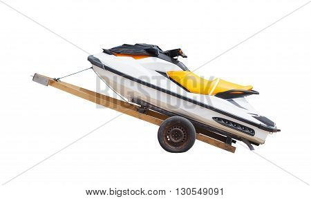 White jet ski on trolley isolated on white background