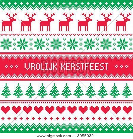 Vrolijk Kerstfeest greetings card - Merry Christmas in Dutch and Flemish