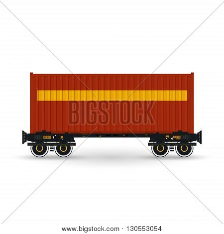 Container, Red Container on Railroad Platform, Railway and Container Transport ,Platform with Container Isolated on White, Vector Illustration