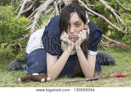SELARGIUS ITALY - June 29 2014: The enchanted garden in Cosplay - Sardinia - Portrait of sulky girl in cosplay costume.