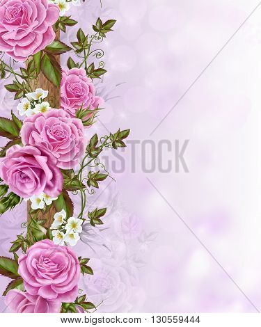Floral background. Delicate pink flowers roses. White anemones. poster